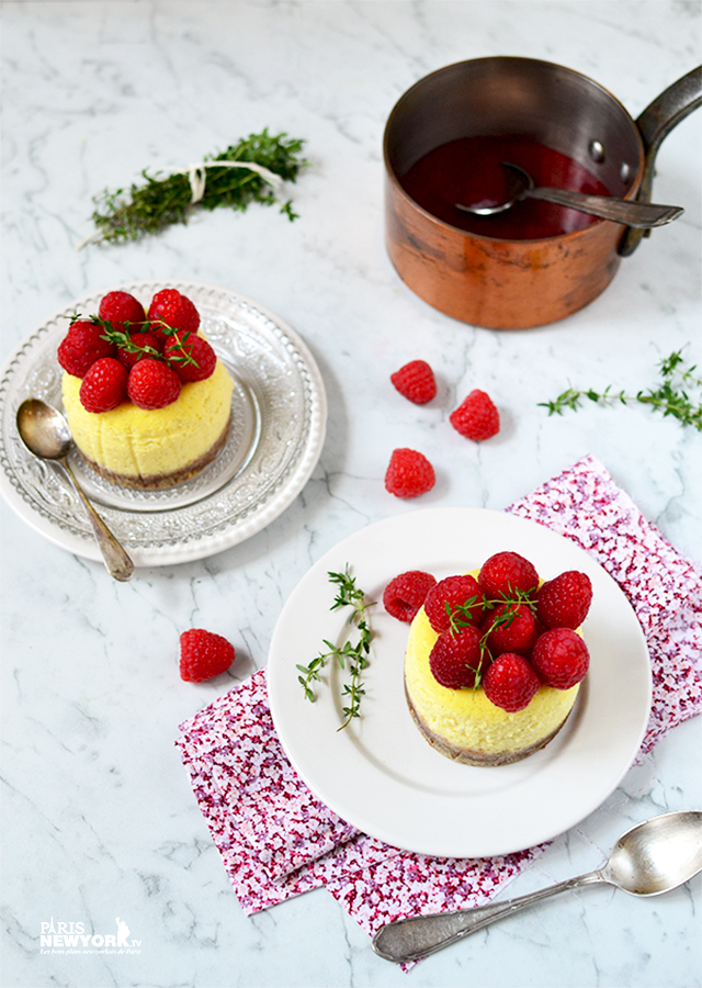 Cheesecake aux framboises et thym citron - Recette Paris-NewYork.tv © photo Aurélie Garreau